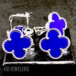 Jewelry - Blue Solid 925Sterling Silver Clover stud Earrings